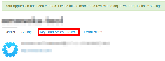 TwitterAPI「Keys and Access Tokens」
